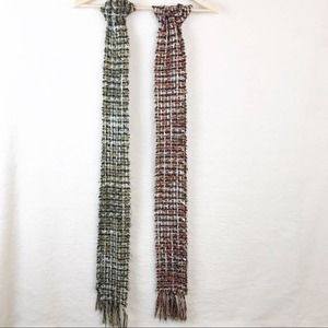 Two Crochet Scarfs in Pink & Green Hues